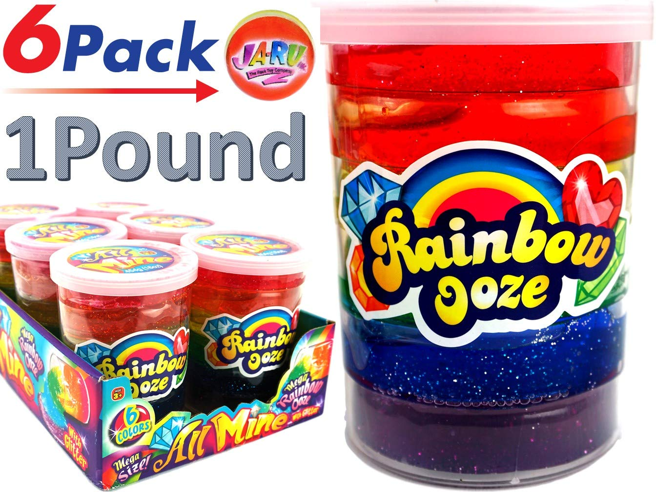 JA-RU Mega Rainbow Slime Kit 1 Pound Neon Glitter Colors (Pack of 6) Unicorn Party Girls Game. Slime Squishy and Stretchy. Arts and Crafts for Girls Party Favor Toy Supplies | Item #4636-6p