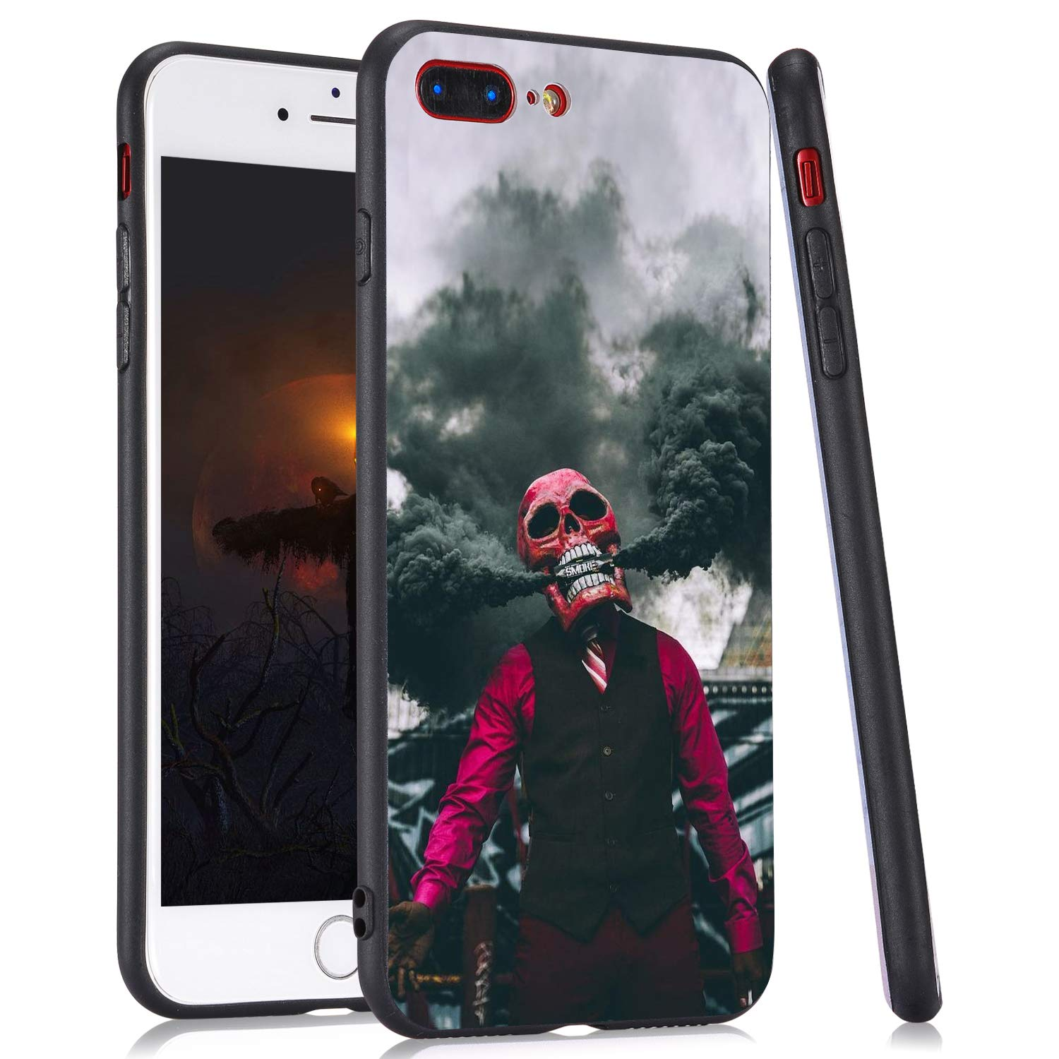 LuGeKe Skull Man Smoke Print Hybrid Phone Case for iPhone 11 Soft TPU Frame Hard PC Back Cover for iPhone Shockproof Scratch Resistant