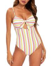Blooming Jelly Women's One Piece Swimsuit Bandeau Tie Knot Striped Cut Out Bathing Suit