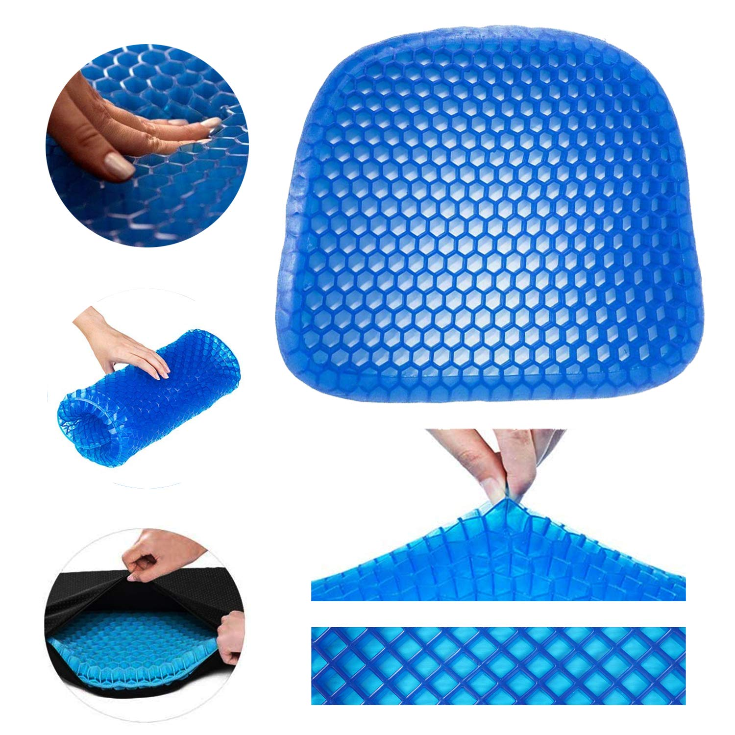 BICMTE Gel Seat Cushion - Durable, Portable Office Chair Car Seat Cushion Supports Lower Back, Tailbone, Spine, Hips   Promotes Circulation & Good Sitting Posture (Egg Sitter Seat Cushion)