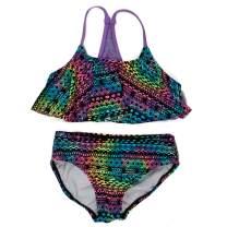 DAYU Girls Ruffle Flounce Swimwear Printed Two Piece Swimsuit, 12 Colors, Size 4-16