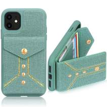 FYY Case for iPhone 11, Luxury PU Leather Wallet Case with Credit Card Holder Back Pockets Protective Cover for iPhone 11 6.1 Inch (2019) Canvas Green