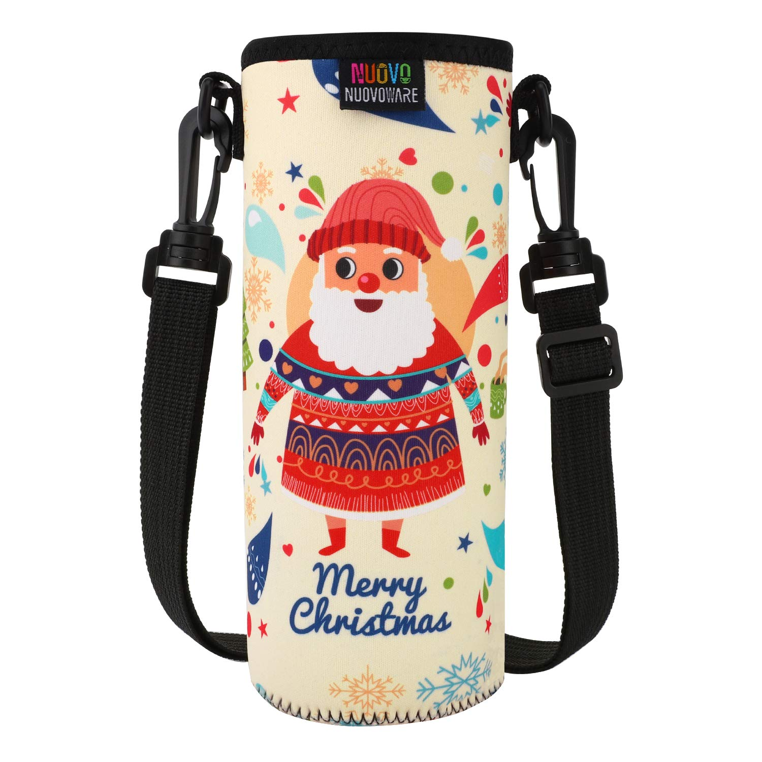 Nuovoware Water Bottle Carrier, Premium Neoprene Portable Insulated Water Bottle Holder Bag 1000ML with Adjustable Shoulder Strap Fit Stainless Steel, Glass & Plastic Bottles, Large Size, Santa Claus