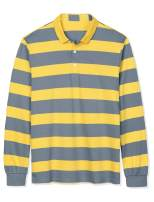Lars Amadeus Men's Pullover Color Block Long Sleeve Striped Golf Polo Shirts