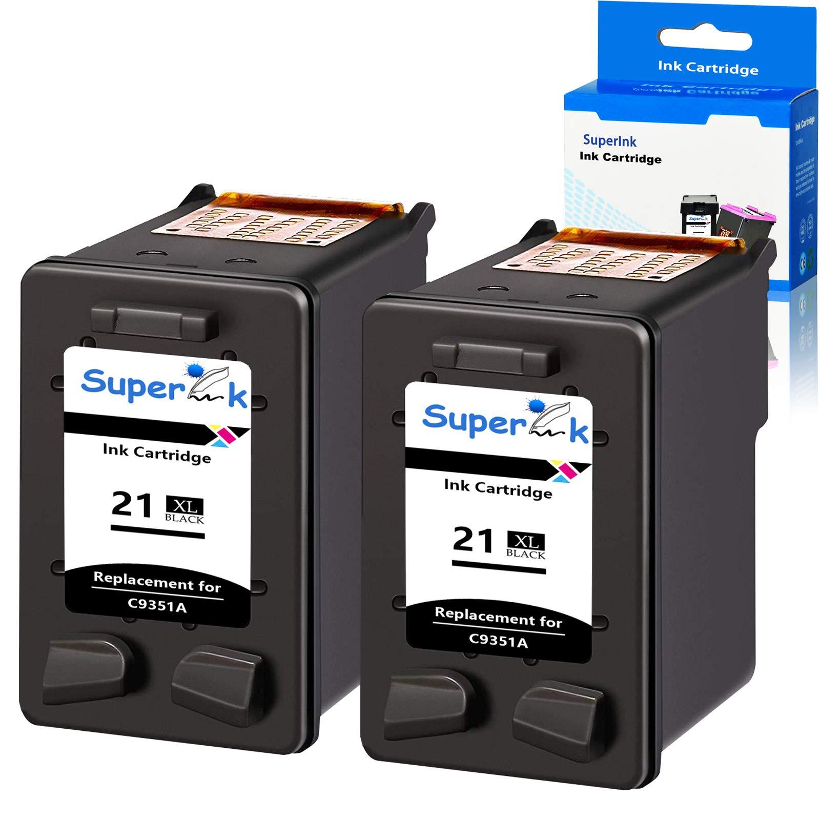 SuperInk 2 Pack 475 Pages High Yield C9351A 21XL Compatible for HP 21 Ink Cartridge DeskJet D1320 D1330 D1341 D1360 D1368 D1400 D1415 D1420