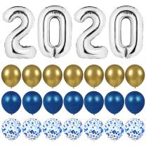 Graduation Decorations 2020 Balloons Props - 40 Inch Large 2020 Balloons with 7 Blue Confetti Balloons,7 Blue Latex Balloons, 7 Gold Balloons, 1 Balloon Tie Tool for Graduation Party Decorations