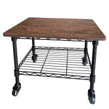 MISSJOY Printer Stand Printer cart Printer Table 2-Shelf Under-Desk Printer Cart on Wheels Durable Furniture-Grade Wood, Metal Frame