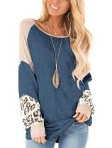 PRETTODAY Women's Crew Neck Leopard Print Pullovers Color Block Oversized Lightweight Sweaters Long Sleeve Tops