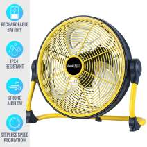 Geek Aire Battery Operated Fan, Rechargeable Outdoor Portable Floor Fan with Large Battery Capacity and Long Working Time, Battery Powered Fan with Water Resistant for Travel, Power Outage, Camp, 12in