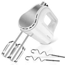 REDMOND Hand Mixer, 5-Speed Electric Hand Mixer with Turbo, Easy Eject Button, 250W Handheld Kitchen Mixer with 4 Stainless Steel Attachments(Beaters and Dough Hooks), White