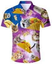 ALISISTER Men's Novelty Button Down Dress Shirts 3D Pattern Summer Hawaiian Tops