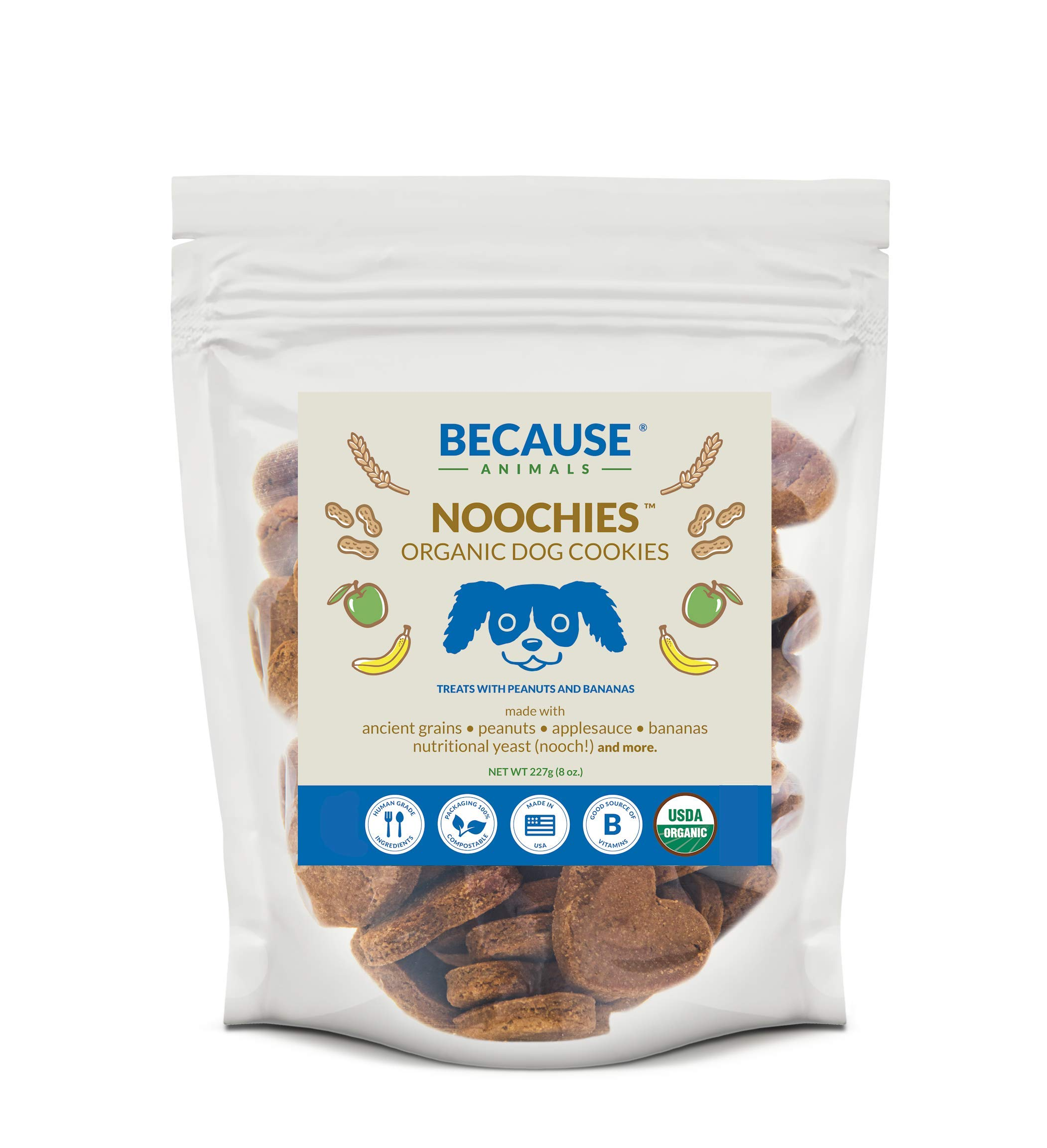Noochies Organic Dog Cookies - Treats Made From All Natural Healthy Ingredients Are Perfect For Training Small And Large Dogs - Human-grade Biscuits Made From Ancient Grains And Peanut Butter