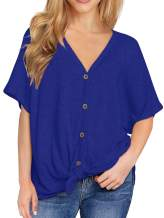 IWOLLENCE Womens Loose Henley Blouse Bat Wing Short Sleeve Button Down T Shirts Tie Front Knot Tops