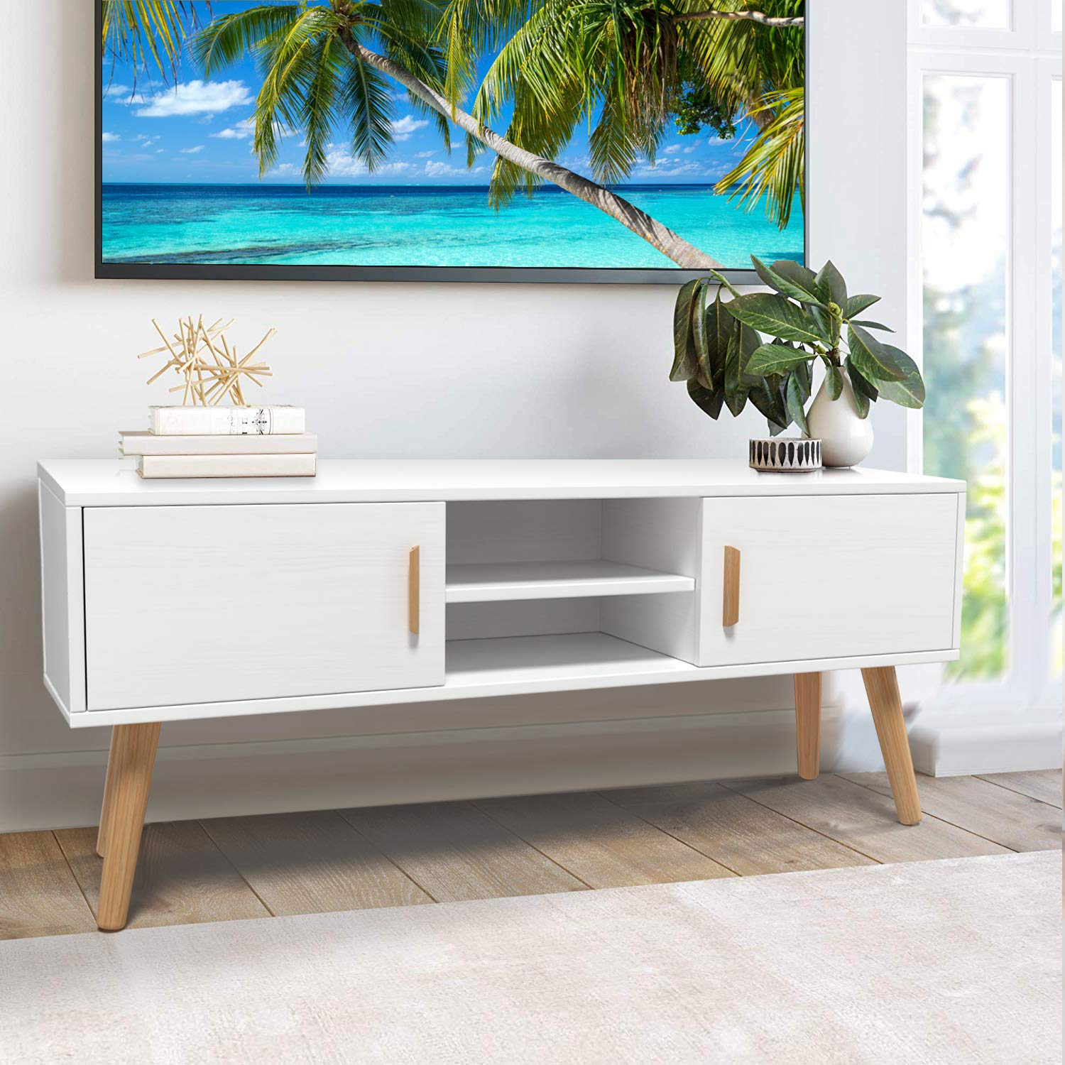 Picture of: Amzdeal Tv Stand Entertainment Centre Modern Tv Console For Flat Screen Tvs Up To 55 Inch 2 Cabinets And 2 Shelves Solid Wood Legs Entertainment Stand For Living Room Entertainment Room Office