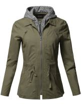 Awesome21 Women's Casual Detachable Hooded Military Jacket Parka Coat Outerwear