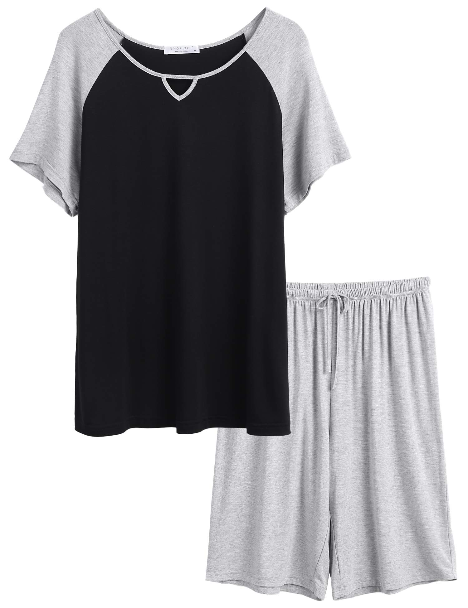 Ekouaer Short Pajama Set for Women 2-Piece Sleepwear Set Raglan Short Sleeve Tops with Shorts
