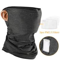 Face Mask Bandanas for Men Women with PM2.5 Filter Ear Loop Neck Gaiter Headwear Face Cover Ice Silk Tube UV Dust Protection Headband for Sports, Outdoors, 3 PM2.5 Filters Included, Gray