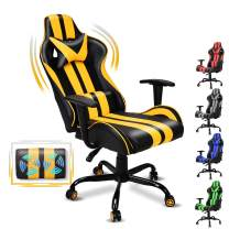FERGHANA Video Gaming Chair,Racing Style Computer Chair,High Back Office Chair with Seat Height Adjustment,160°Recliner,Massage Lumbar Pillow and Headrest(Racing Yellow)