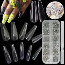 Acrylic Nail Art Kit, 600pc Clear Long Coffin Nail Tips Artificial Ballerina False Nails, AB Nail Rhinestone Crystal Decorations,1pc Nail File Sanding Tools