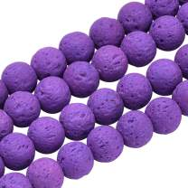 PH PandaHall 390pcs 10mm Natural Lava Beads Blue Violet Chakra Bead Strand Round Gemstone Loose Beads Energy Healing Beads for Jewelry Making