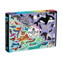 """Mudpuppy Animal Kingdom Double-Sided Puzzle, 100 Pieces, 22""""x16.5"""" – Perfect Family Puzzle for Ages 6+ - With Colorful Animals on One Side, Black and White Animals on the Other– Two Puzzles in One Box"""