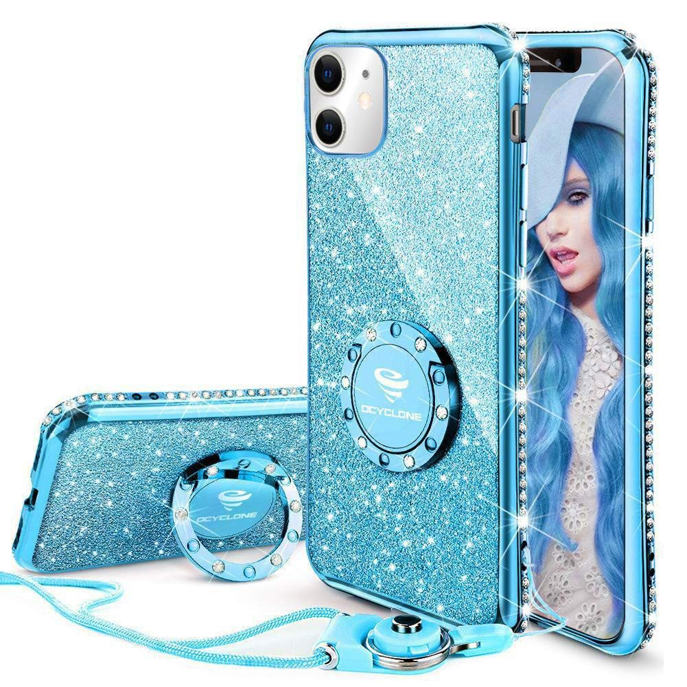 OCYCLONE Cute iPhone 11 Case, Glitter Luxury Bling Diamond Rhinestone Bumper with Ring Grip Kickstand Protective Thin Girly Pink iPhone 11 Case for Women Girl [6.1 inch] 2019 - Blue