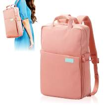 ELECOM Offtoco 2WAY Laptop Sleeve Backpack, Handbag, Limited Color Model, Multiple Inner Pockets, Water Repellent Finish, Support Up to 13.3 inch/Pink/BM-OF04PN