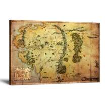"The Hobbit Map Wall Art Picture Lord of the Rings Map Canvas Painting Map of Middle Earth Posters HD Prints Home Decor Artwork for Living Room Bedroom Office Stretched Framed Ready to Hang (12""Hx18""W)"