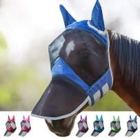 Harrison Howard CareMaster Pro Luminous Horse Fly Mask Standard with Ears UV Protection for Horse