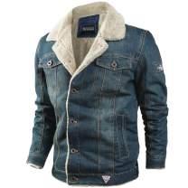 Flygo Men's Sherpa Fleece Lined Denim Trucker Jacket Winter Jean Jacket Cowboy Coat