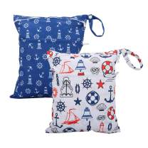 Cloth Diaper Wet Dry Bags Set Waterproof Reusable Dual Zipper for Baby Kids Gym Travel Laundry Swimsuit Towel 2pcs (WB02-Anchor)