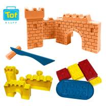 Tot Stuff Magic Shapable Sand - Castle and Block Set, Color Mixing Sand, Play Kit with Castle Model and Block Builders, Available in Assorted Colors(Orange)