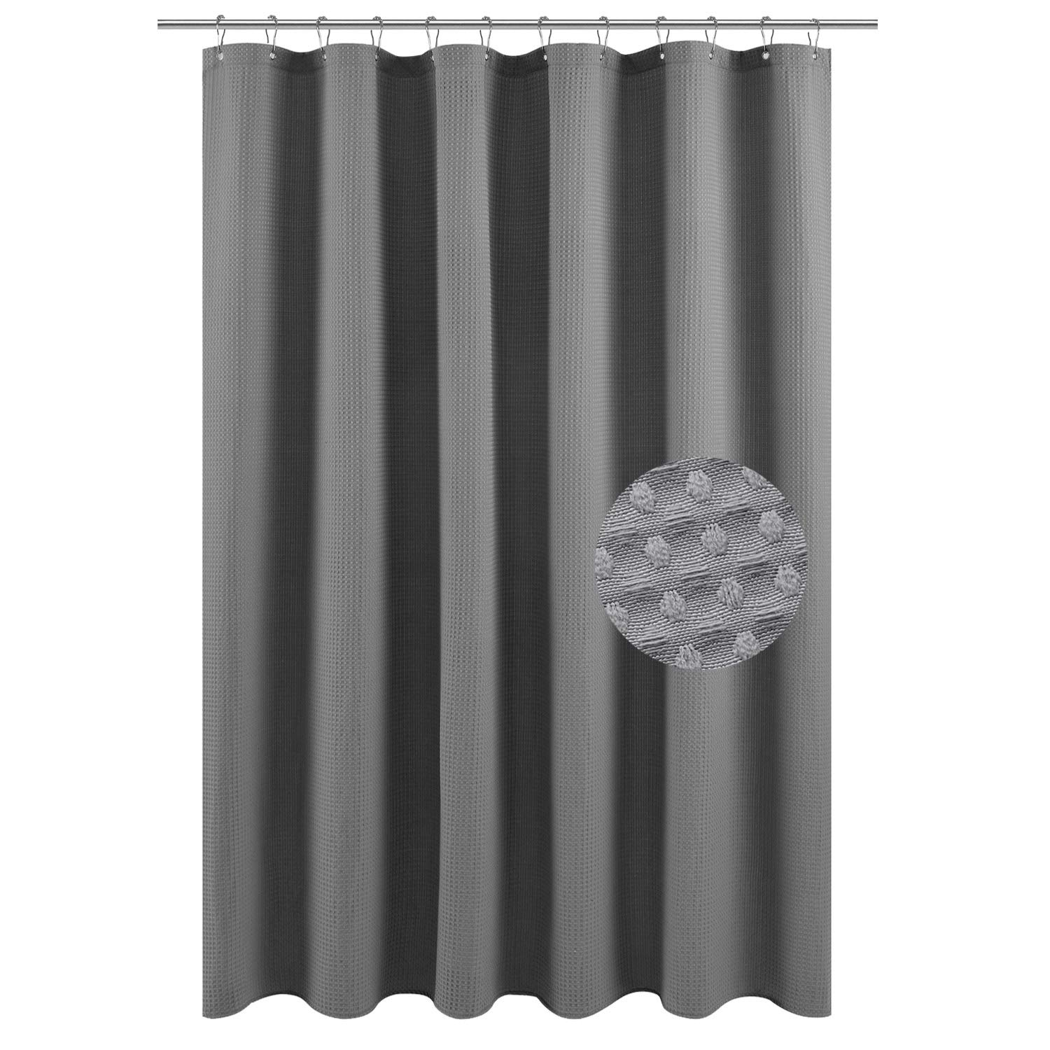 Barossa Design Long Fabric Waffle Weave Shower Curtain 78 inch Height, Hotel Collection, 230 GSM Heavy Duty, Water Repellent, Machine Washable, Gray Pique Pattern, 71x78