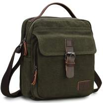 Messenger Bag for Men,RAVUO Water Resistant Shoulder Bag Canvas Satchel Crossbody Bag for Travel and Work Green