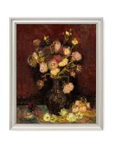 DECORARTS - Vase with Asters and Phlox 1886, Vincent Van Gogh Art Reproduction. Giclee Print& Framed Art for Wall Decor. 20x16, Framed Size: 23x19