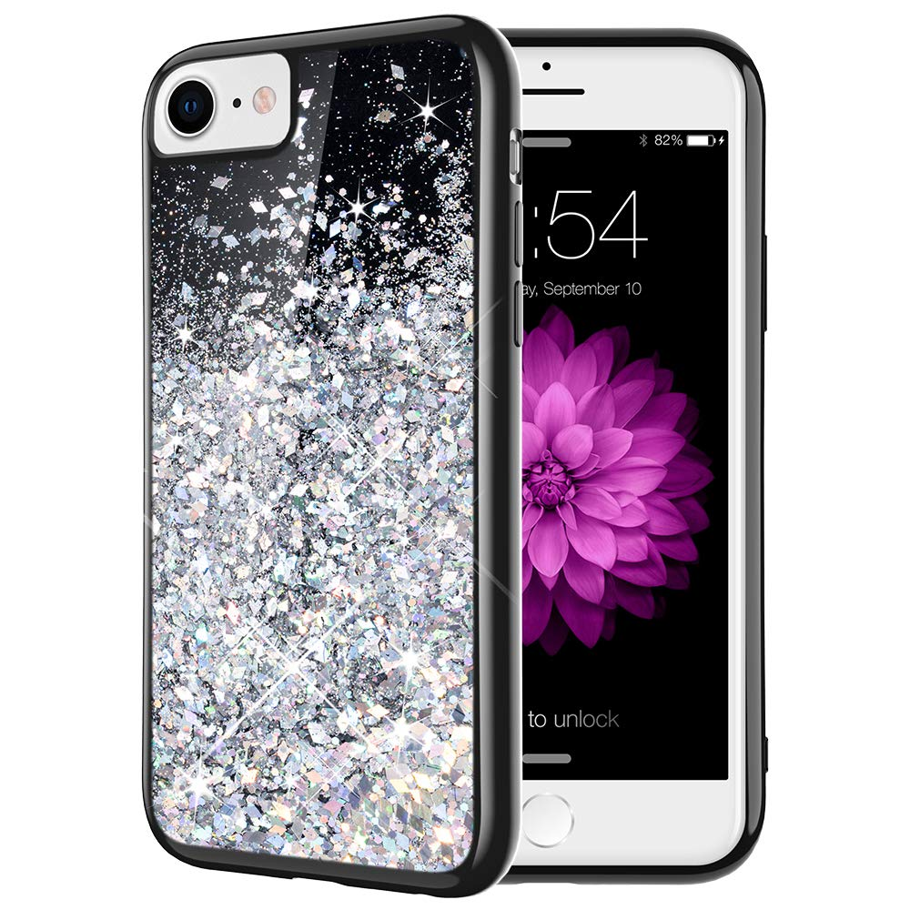 Caka iPhone 7 Case, iPhone 6 7 8 Glitter Case Starry Night Series Bling Flowing Floating Luxury Liquid Sparkle Soft TPU Glitter Case for iPhone 6 6S 7 8 (4.7 inch) (Silver)
