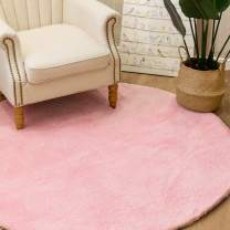 jinchan Plush Round Area Rug Fluffy Warm for Nursery Luxe Area RugCozy Solid Shag Rug Indoor Soft Mat Modern Floorcover for Living Room Bedroom 5' x 5' Blush Pink