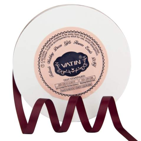 VATIN 1/4 inches Double Faced Burgundy/Maroon Polyester Satin Ribbon - 50 Yards for Gift Wrapping Ornaments Party Favor Braids Baby Shower Decoration Floral Arrangement Craft Supplies