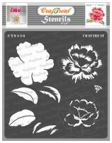 CrafTreat Layered Flower Stencils for Painting on Wood, Wall, Canvas, Paper, Fabric and Floor - Layered Peony Bloom Stencil - 6x6 Inches - Reusable DIY Art and Craft Stencils - Layered Flower Stencil