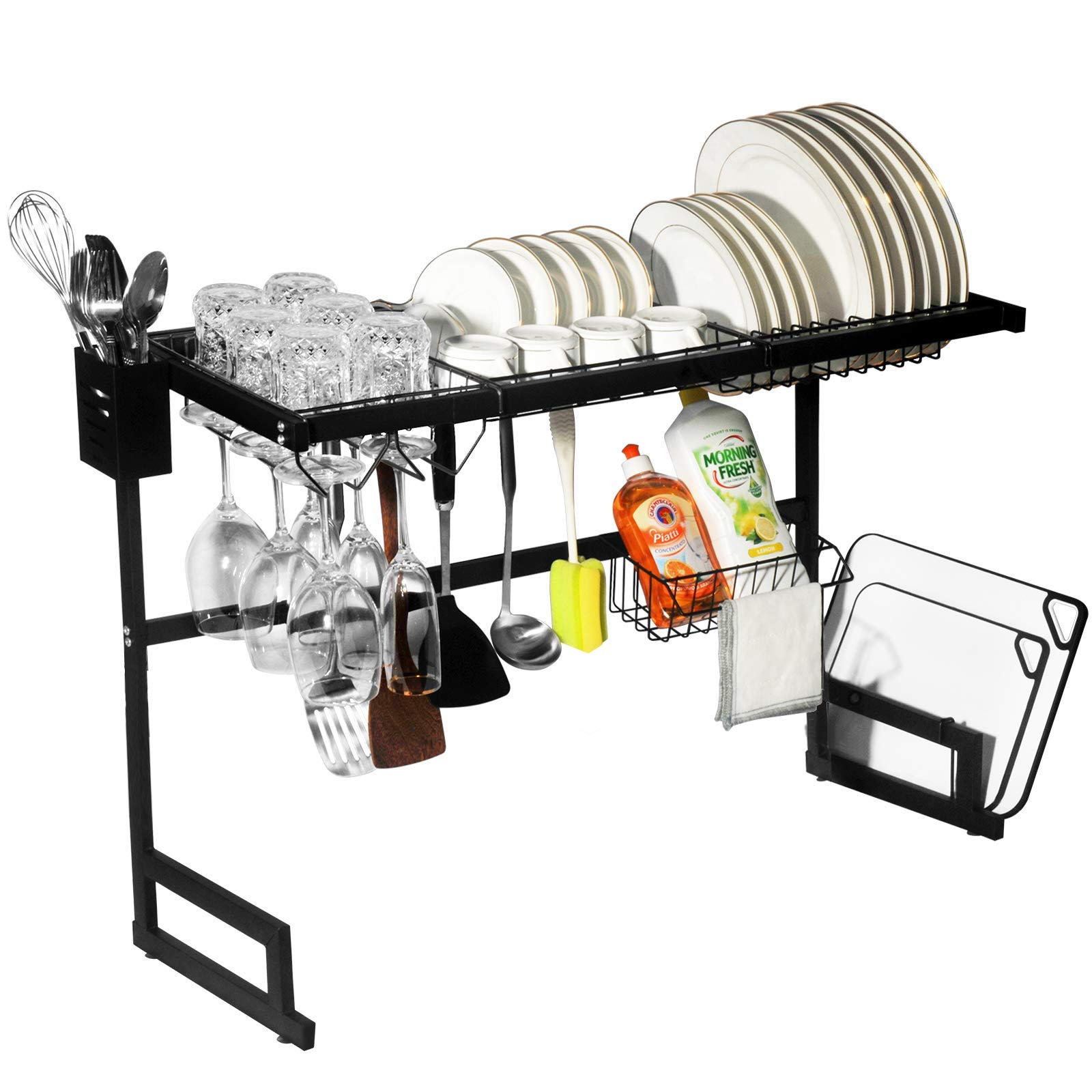 "Dish Drying Rack Over The Sink, Adjustable 25""- 33"" Dish Racks Shelf Organizer on The Sink Counter, Dish Organizer Racks for Kitchen Organization and Storage Shelf Dish Drainer, Space Saver Sink Rack"