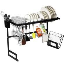 "Dish Drying Rack Over The Sink, Adjustable 25""- 33"" Dish Racks Shelf Organizer on The Sink Counter, Dish Organizer Racks for Kitchen Organization and Storage Shelf Dish Drainer, Space Saver Sink Rack"