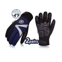 Vgo 2Pairs -4℉ or above 3M Thinsulate C100 Lined High Dexterity Touchscreen Synthetic Leather Winter Warm Work Gloves, Waterproof Insert(Size XL,Dark Blue,SL8777)