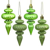 """Vickerman N500054 Shatterproof Finial with 4 Separate Finishes (shiny, matte, glitter and sequin) in 8 per box, 4"""", Celadon"""