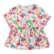 Little Girls Linen Cactus Flamingo Cover-up Beach Swimsuit Coverup Pompom Tassel Sundress
