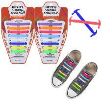 HEYIYI No Tie Shoelaces Elastic Stretch Silicone Waterproof Sneakers Laces for Kids Adults