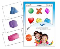 Yo-Yee Flashcards - Shapes Flash Cards with Matching Bingo Game Cards in One Set - Vocabulary Picture Cards for Babies, Toddlers, Kids and Children