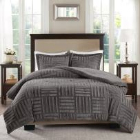 Premier Comfort Arctic Faux Fur Down Alternative Comforter Bedding Mini Set - Ultra Soft and Cozy Warm, Twin, Grey