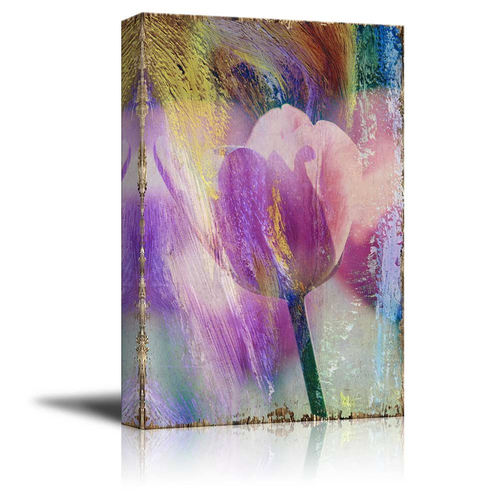 wall26 - Pink Tulip Flowers on a Colorful Watercolor Background - Nature - Canvas Art Home Decor - 32x48 inches