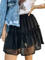 Miessial Women's High Waist A Line Mini Skirt Pleated Ruffle Cute Beach Short Skirt