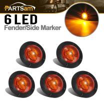 "Partsam 1-1/4"" Inch Grommet Mount Amber LED Mini Marker Lights 6-2835SMD, Universal Waterproof Side Led Marker for Truck Boat SUV ATV Bike Trailer Marine(Pack of 5)"